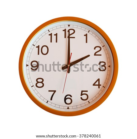 orange wall clock isolated in two o'clock on white background. - stock photo