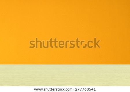 Orange wall empty room for background. - stock photo