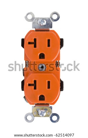 Orange wall outlet isolated on a white background. - stock photo