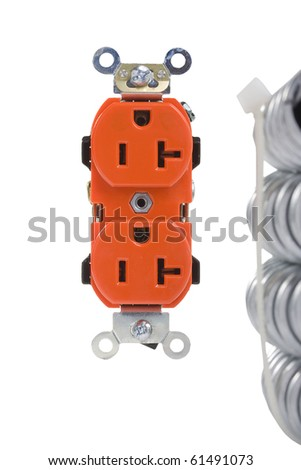 Orange wall outlet on a white background. - stock photo