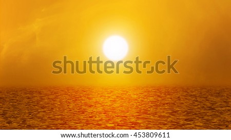 Orange warm tone sea, ocean with waves, sky, sun light ray and clouds in sunset or sunrise - stock photo