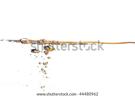 orange water surface with a  white background