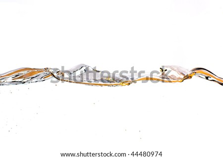 orange water surface with a  white background - stock photo