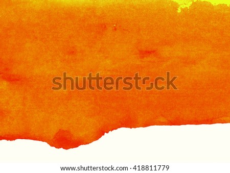 orange watercolor background, paint bruise - stock photo
