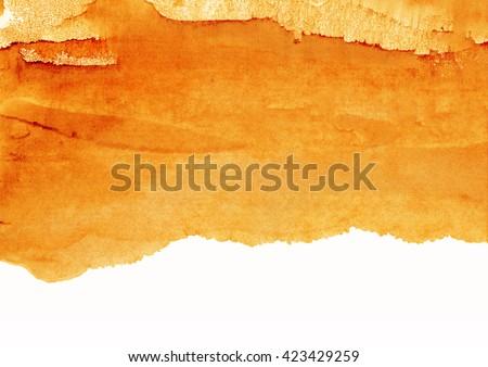 orange watercolor background, paint bruise - stock photo