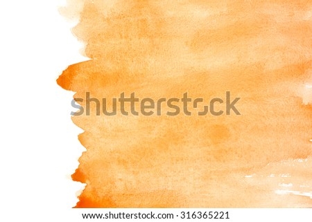 Orange watercolor background with space for your own text - stock photo