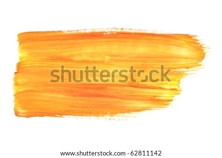 Orange watercolor brush strokes - stock photo