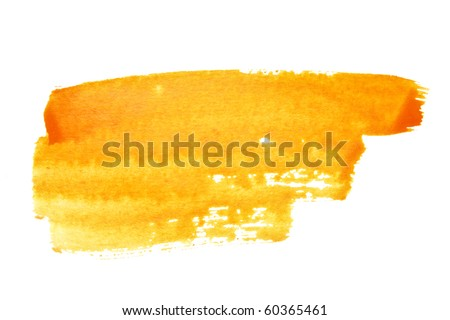 Orange watercolor brush strokes, may be used as background - stock photo