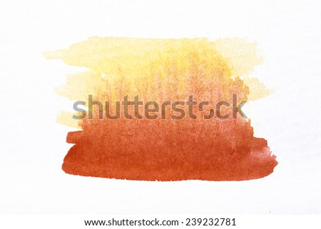 Orange watercolor brush strokes on white rough texture paper  with space for your texts and images