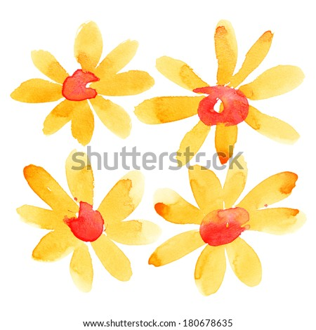 Orange watercolor flowers isolated over the white background - stock photo