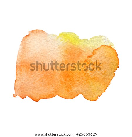 orange watercolor hand painted background isolated on white - stock photo