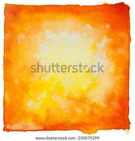 Orange watercolor texture vintage background. - stock photo