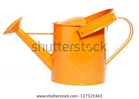 orange watering can on white background - stock photo