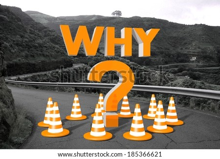 orange why symbol on a countryside road in remote landscape blocking the way like a construction site - stock photo