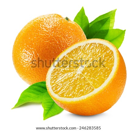 orange with a half of orange and leaves isolated on the white background - stock photo