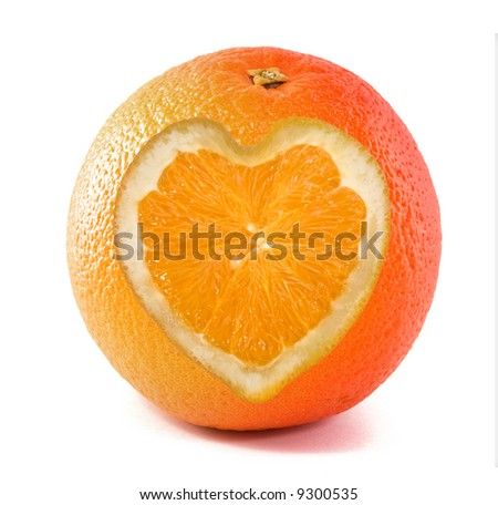 orange with a heart sign ,  isolated on a white background - stock photo