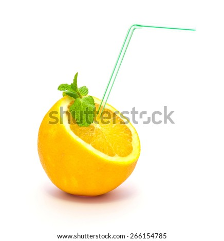 orange with a straw on a white background - stock photo