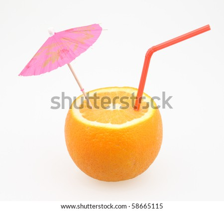 orange with cocktail umbrella and drinking straw on white - stock photo