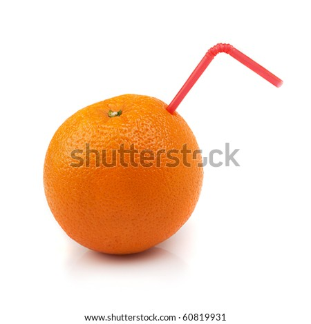 Orange with coctail straw isolated on white background - stock photo
