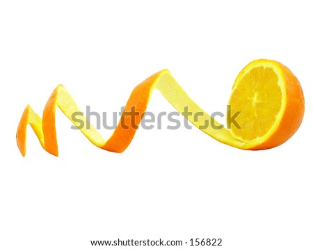Orange with curly peeled skin on a white background - stock photo
