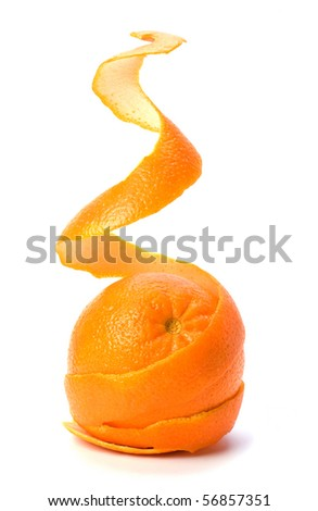 Orange with double skin layer isolated on white background. Safeguard and safety concept. - stock photo