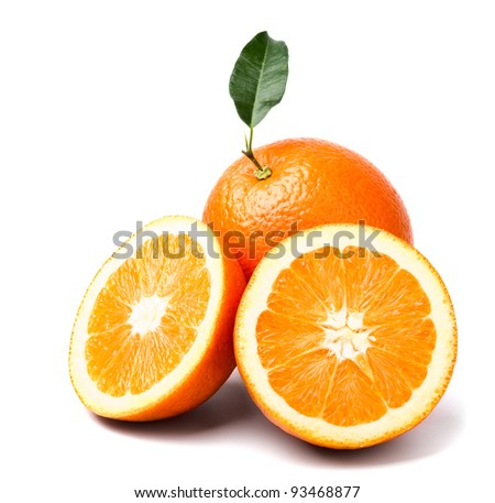 orange with green leaf and two slices - stock photo