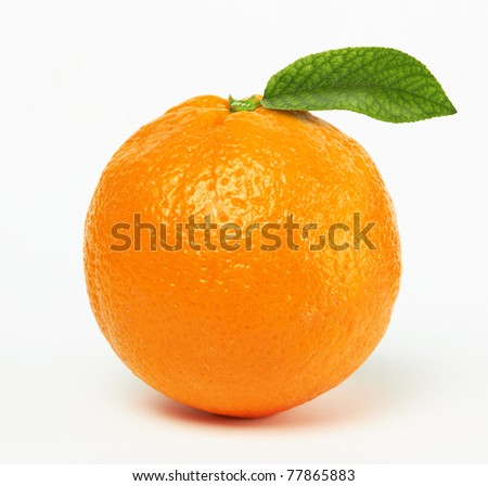 orange with leaf on white background - stock photo