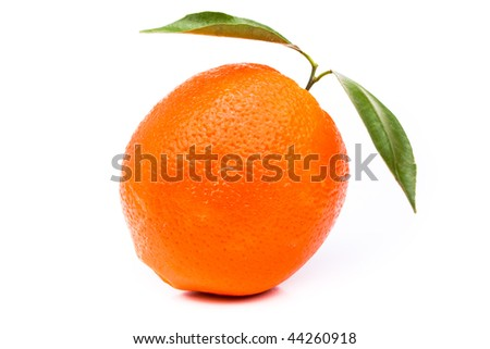 Orange with leaves on white background