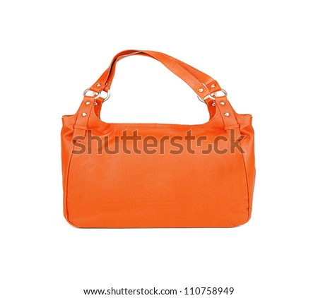 Orange women bag isolated on white background - stock photo