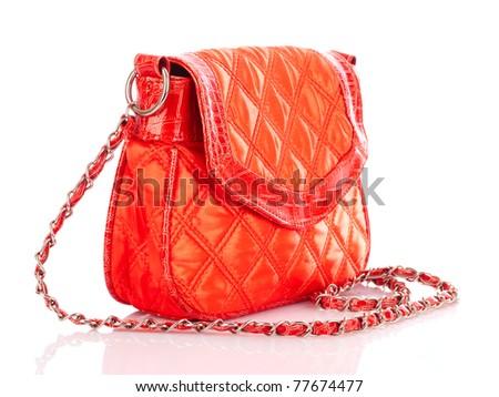 Orange women bag isolated on white background - stock photo