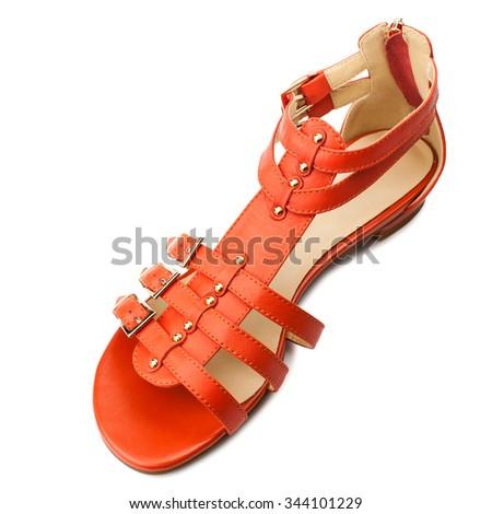Orange women sandal isolated on white background.Top view. - stock photo