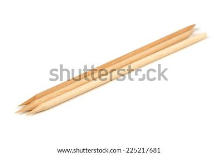 Orange Wood Sticks (Cuticle Pushers) for Manicure - stock photo