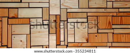 Orange wooden background grid abstract, for DIY, interior design, carpentry - panorama / header / banner.