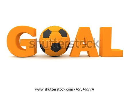 orange word Goal with football/soccer ball replacing letter O - stock photo