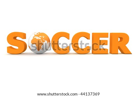 orange word Soccer with 3D globe replacing letter O