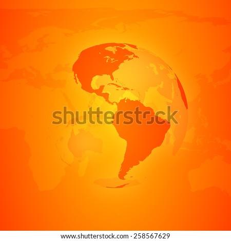 Orange World Globe. North and south America. - stock photo