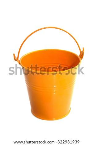 Orange zinc bucket isolated over white - stock photo