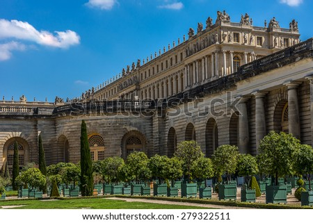 Orangerie Parterre built by Jules Hardouin-Mansart (1684 - 1686) in Versailles palace. Paris, France. It features 1,055 trees, including palm trees, oleanders, pomegranate, eugenias and orange trees. - stock photo