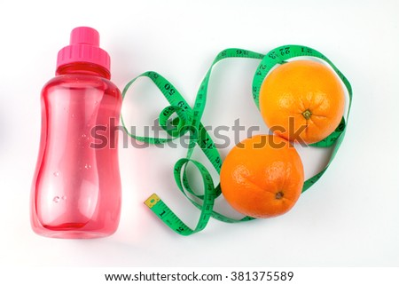 Oranges and Bottle of Water Isolated.