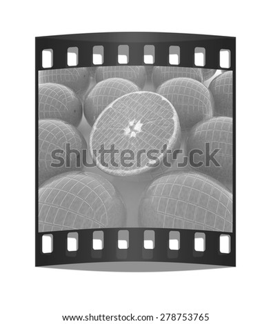 oranges and half oranges background. The film strip - stock photo
