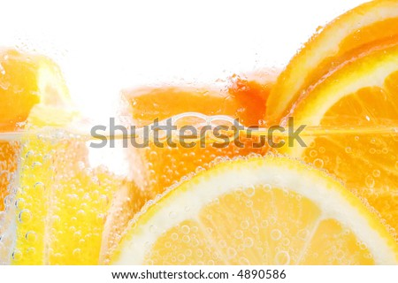 Oranges and lemons in club soda with white background - stock photo