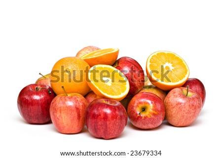 Oranges, apples, fruit on white background. - stock photo