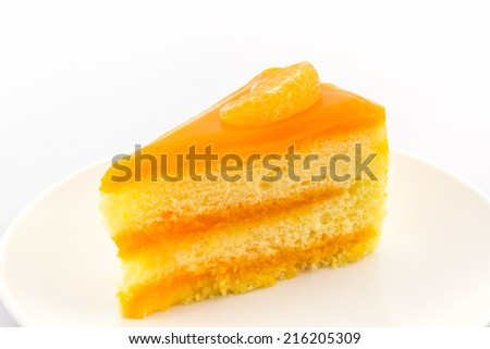 Oranges cake slice,fruit cake on white background.