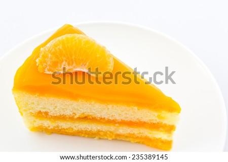 Oranges cake slice,fruit cake on white background.  - stock photo