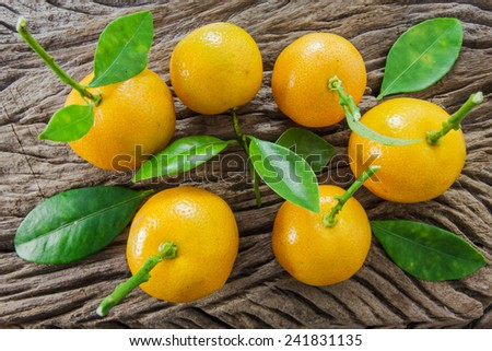oranges (Citrus Japonica Thunb) on a wooden background - stock photo