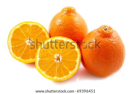 Oranges close up isolated on a white background - stock photo