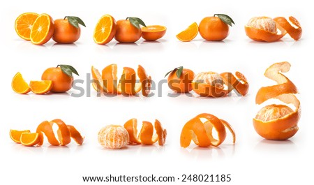 Oranges fruit  isolated on white background - stock photo