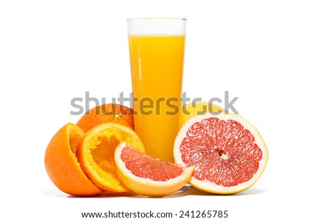 Oranges, grapefruit and orange juice isolated on white background. - stock photo