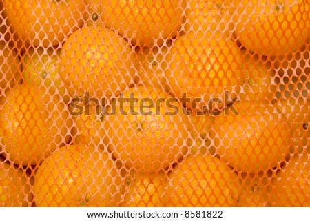 Oranges in a box covered with plastic netting - stock photo
