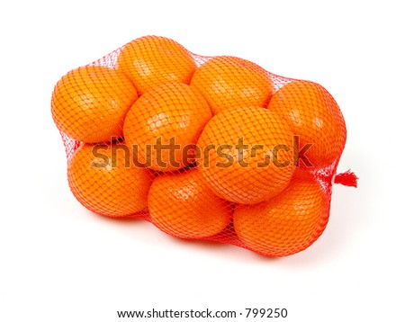 Oranges in net over white background - stock photo